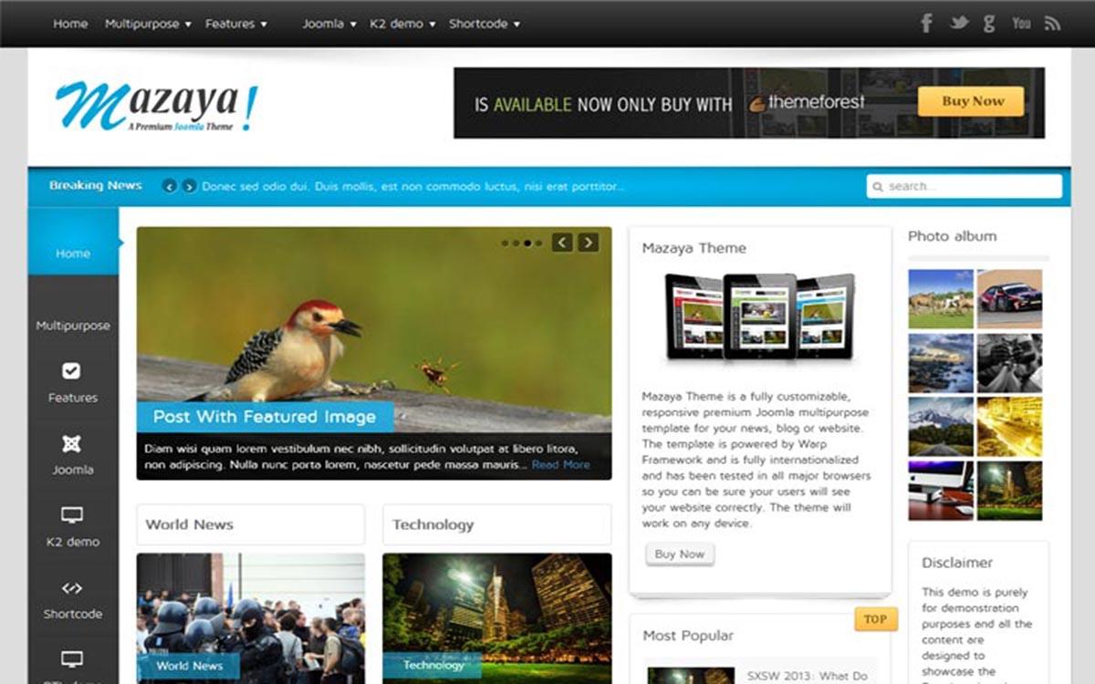 Mazaya Responsive Joomla News,..